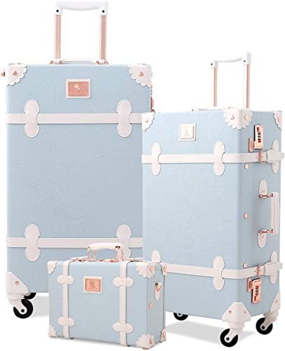 Unitravel Retro Suitcase Set PU Leather Spinner Trunk Luggage with Handbag for Women Embossed Blue, 26in 20in 12in