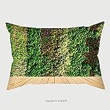 Custom Satin Pillowcase Protector Flower Wall Vertical Garden And Wood Floor 354705905 Pillow Case Covers Decorative