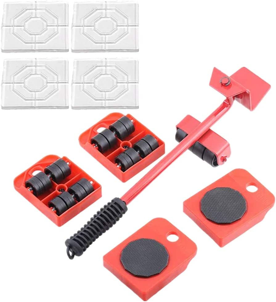 Furniture Lifter with 4 Furniture Sliders Kit,Furniture Move Roller Tools,Can Easily Lift Heavy Objects — with 4 Silicone Non Slip Furniture Pads,for Anti-Skid Furniture and Rrotect Your Floor