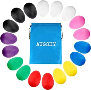 Augshy 18PCS Plastic Egg Shakers Percussion Musical Egg Maracas Easter Eggs with 8 Different Colors