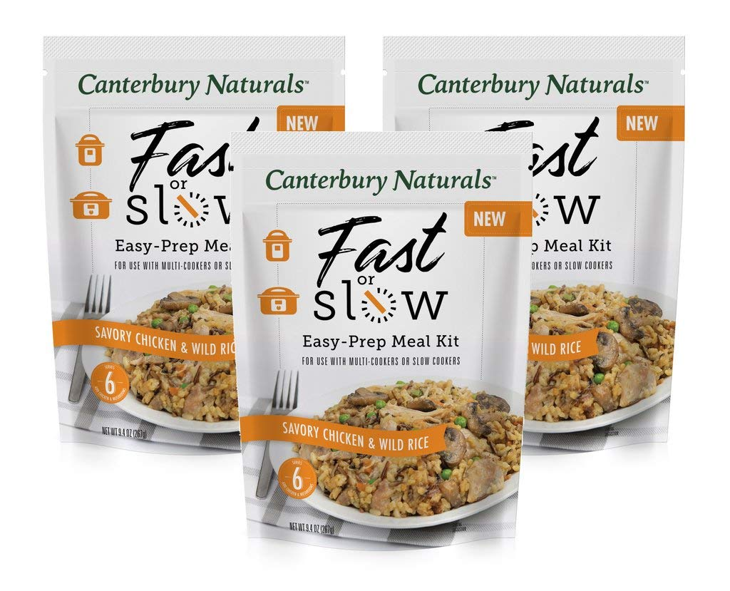 Canterbury Naturals Fast or Slow Easy-Prep Meal Kit, Savory Chicken & Wild Rice, 9.4oz, Pack of 3
