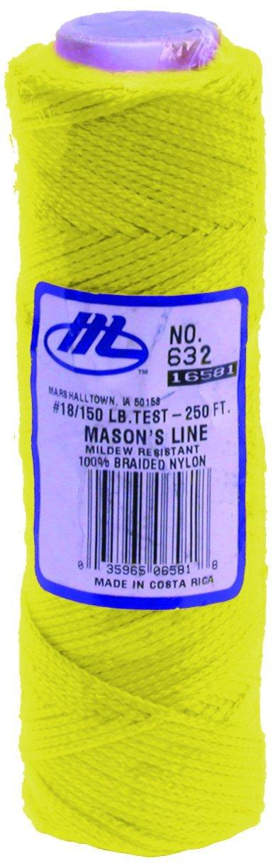MARSHALLTOWN The Premier Line 632 250-Foot Mason's Line Fluorescent Yellow Braided Nylon
