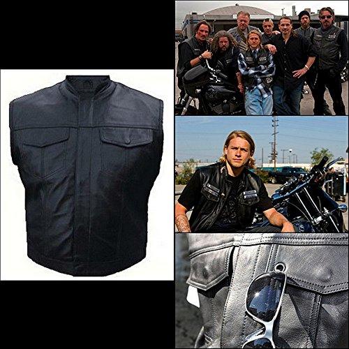 Biker Cuir Gilet Veste Soa Anarchy Sons Poitrines Poches Of Type Ew5xqS1