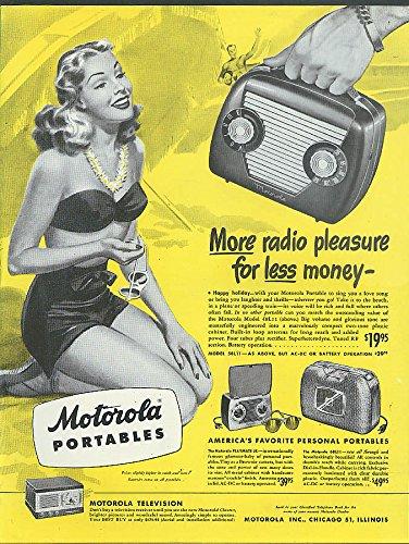 More radio pleasure for less Motorola Portable ad 1948 gal swimsuit beach