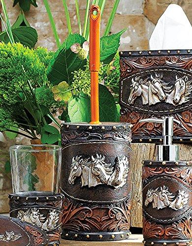 (Black Forest Decor Horse Tooled Leather Toilet Brush)