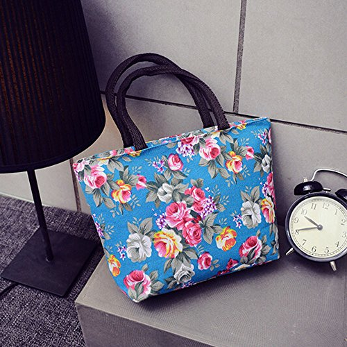 Zycshang Shoulder Shopper Floral Bags Blue Bag Fashion Canvas Sale Handbag Canvas Bag Cross Tote Printing Bags Shoulder Girls Women Women Fashion Shopping Body RaRwq1rBU