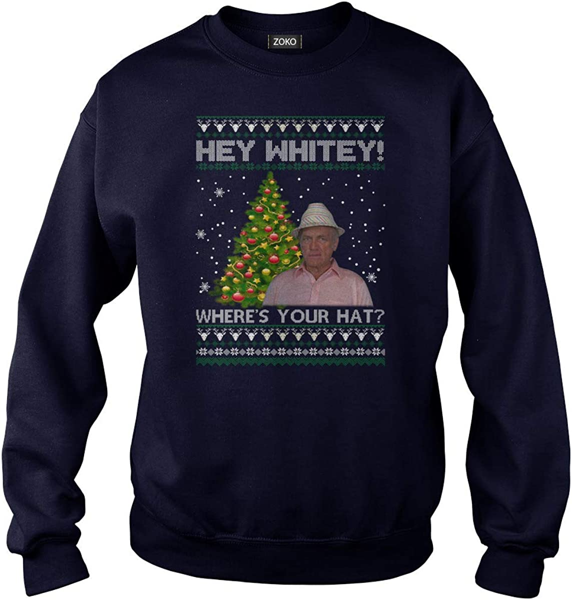 Zoko Apparel Hey Whitey Wheres Your Hat Ugly Christmas T-Shirt