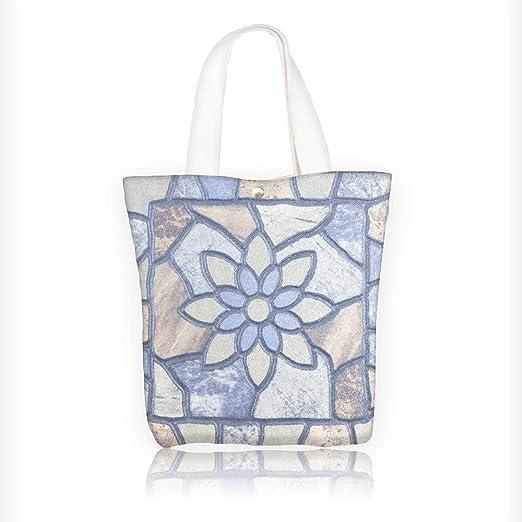 Bolsa de tela con cremallera, estampada, mosaico, reutilizable, con cremallera, 100% algodón, 27,9 x 27,9 x 7,62 cm: Amazon.es: Hogar