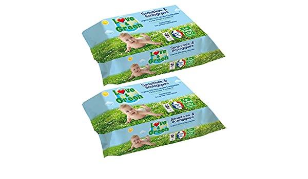Toallitas desechables écologiques Love & Green - Juego de 2 x100: Amazon.es: Bebé