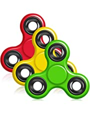 Hand Fidget Spinner, YuCool 3 Pack Tri-Spinner EDC Finger Fidget Toy Stress Reducer Rotate for 1+Mins (A Set of Red, Yellow,Green)