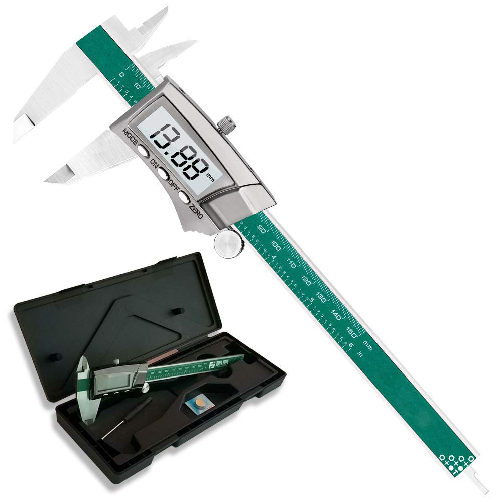 Digital Vernier Caliper with Extra Large | 0-6inch | 150mm Millimeter Conversion Measuring Tools from Fujiwara (Digital Stainless steel)