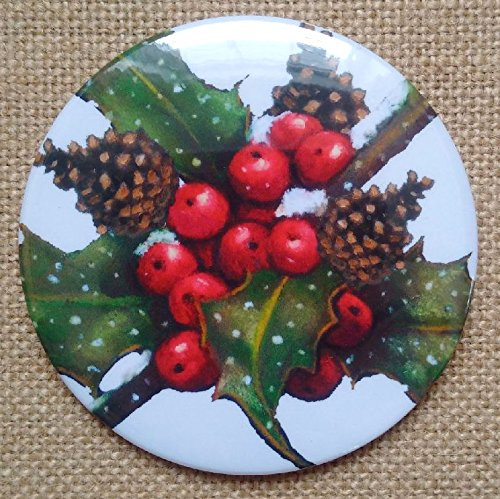 Magnet: 3.5', Christmas Holly, Pine Cones, From Original Art, Holiday Kitchen Decor