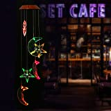 OULII Solar Wind Chimes with Star and Moon Shapes and Solar-Powered Illumination at Night