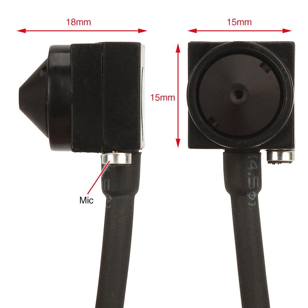 zoter/® 1000TVL Micro Mini Hidden audio video color BNC AV peque/ño esp/ía c/ámara de seguridad CCTV con DC 5/V 1/A Fuente de alimentaci/ón
