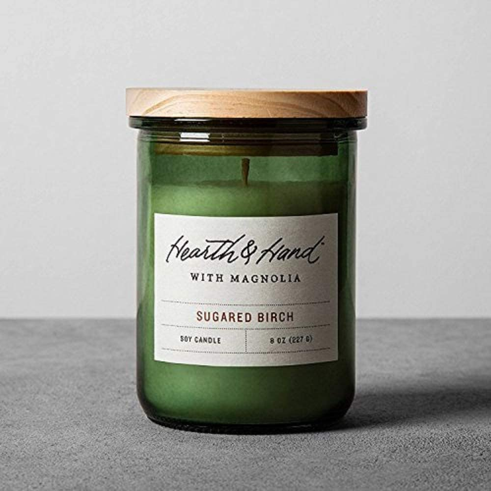Hearth and Hand Magnolia Lidded Jar Container Soy Candle 8oz Farmhouse Joanna Gaines Collection (Sugared Birch)