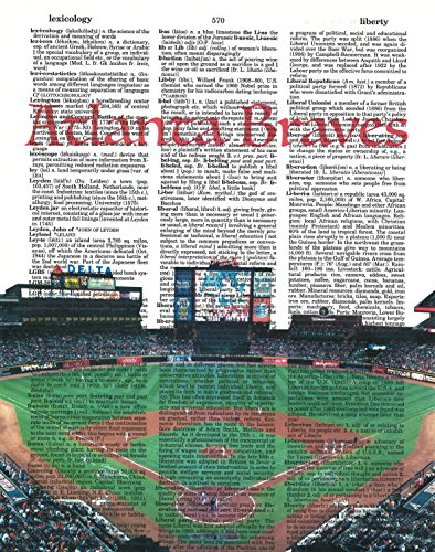 Atlanta Braves Photo Dictionary Art Print Suntrust Park Photo Baseball Art Gift For Him Vintage Dictionary Paper