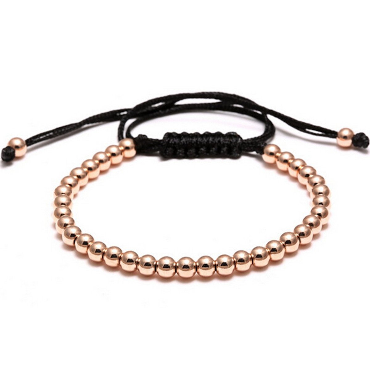 Macrame Braided 4mm Round Copper Beads Bracelet by MayaBracelets (Rose Gold)