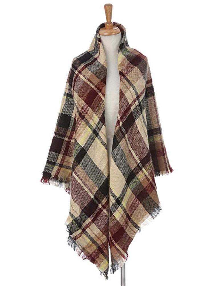Women\'s Plaid Blanket Scarf Lightweight Winter Warm Soft Tartan Oversized Shawl Wrap Cape
