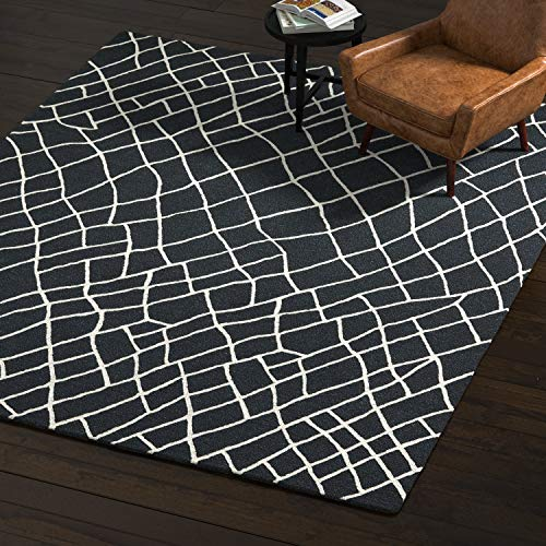 Rivet Wool Rug, 8' x 10', Black, White