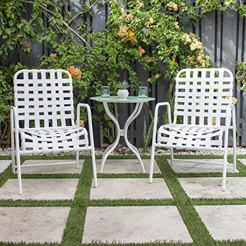 MIX Breeze Poolside Patio Outdoor Commercial Grade Cross-Weave Strap Arm Chair, ()