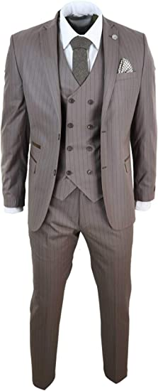 Costume Beige Homme 3 pièces Style Gatsby années 20 Peaky Blinders Ganster  Rayures Fines Coupe ajustée