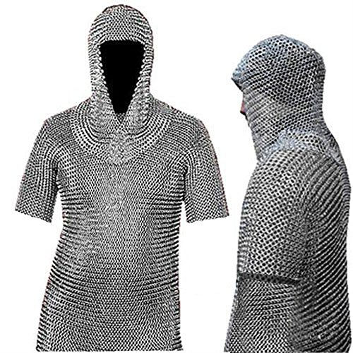Medieval Warrior Chain Mail Shirt and Coif Armor Shirt and Coif Set