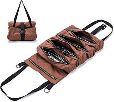 Super Large Tool Roll Pouch Bag Big Zipper Wrench Tool Roll Up Bag with Adjus...