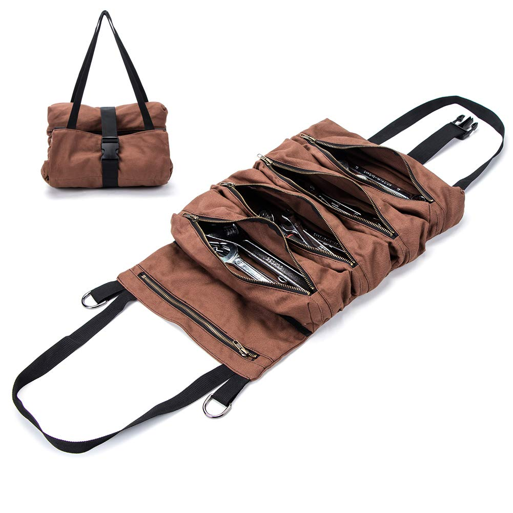 Super Tool Roll, Large Wrench Roll, Big Tool Roll Up Bag, Waxed Canvas Tool Organizer Bucket, Tool Roll Up Pouch, Handy Small Tools Tote Carrier,Tool Pouch Sling, Car Back Seat Organizer (Brown)