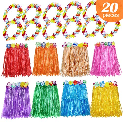 8 PCS Hawaiian Luau Hula Grass Skirt Assorted Color with 12 PCS Flower Hawaiian Necklace Floral Leis Tropical Party Decorations Favors Supplies for Adult and ()