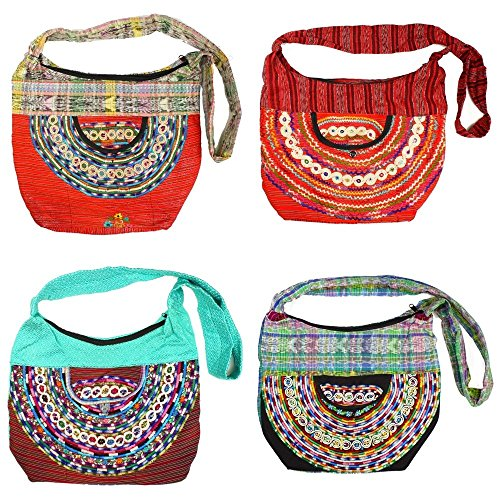 Two Maya Huipil Vintage Joyaba Cotton Hobo Purse Tote Bag Zippered Assorted Lot