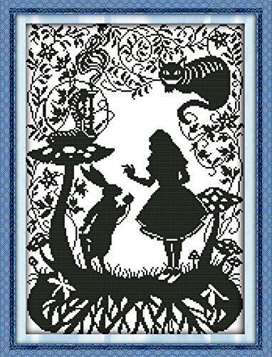 YEESAM ART® New Cross Stitch Kits Advanced Patterns for Beginners Kids Adults - Fairy tales 11 CT Stamped 42×56 cm - DIY Needlework Wedding Christmas Gifts - Graduation Cross Stitch Patterns
