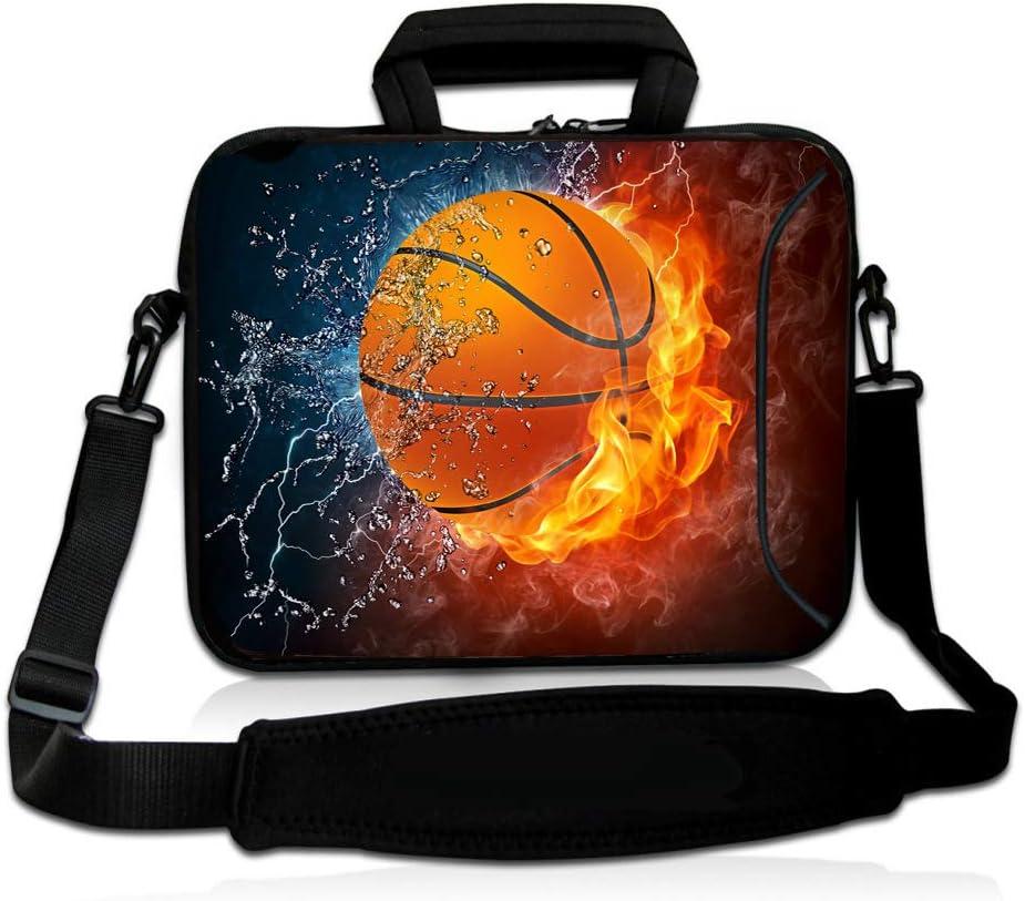 RICHEN 14 15 15.4 15.6 inch Laptop Shoulder Bag Messenger Bag Case Notebook Handle Sleeve Neoprene Soft Carring Tablet Travel Case with Accessories Pocket (14-15.6 inch, Basketball Fire)