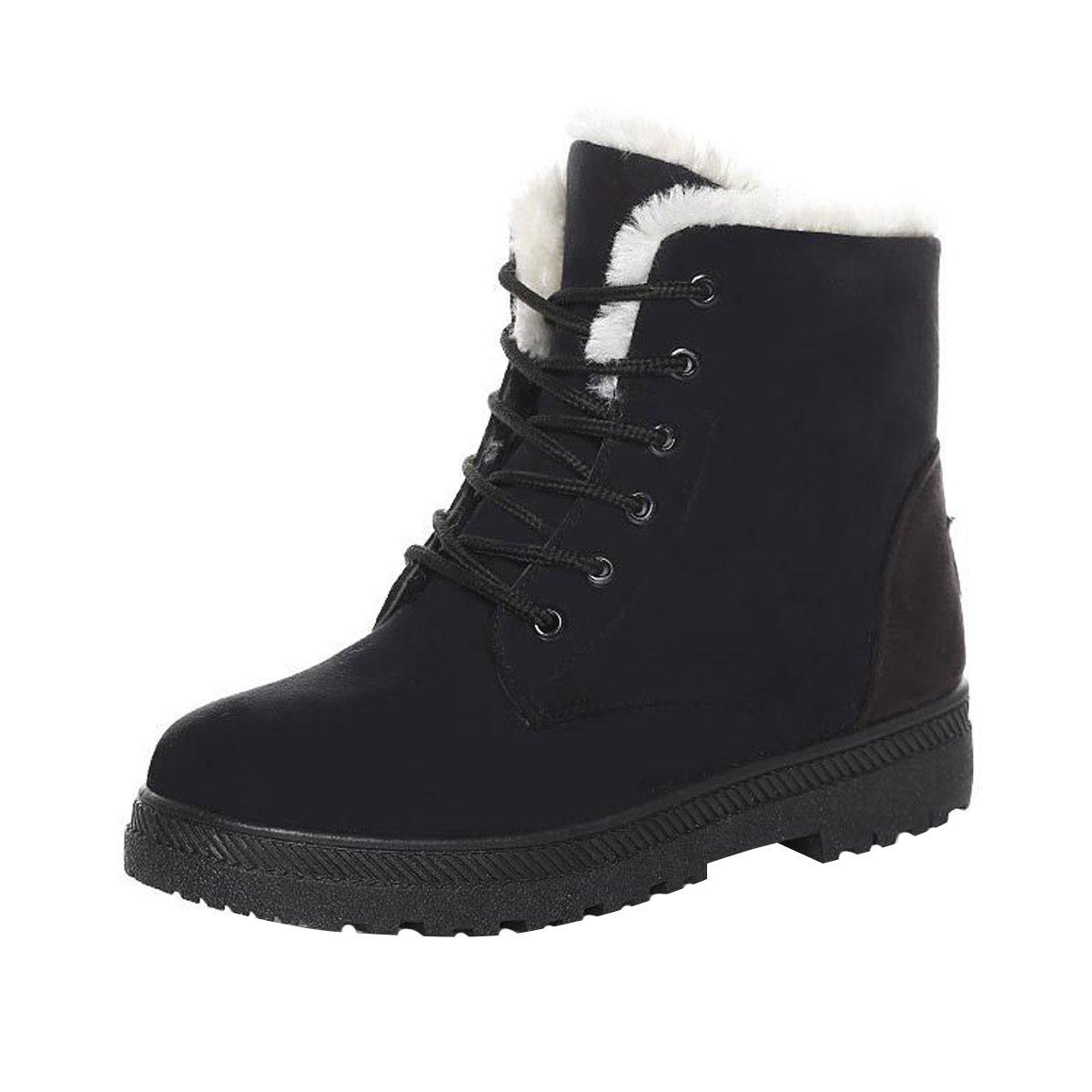 Dear Time Women Winter Snow Boots Fur Lined Warm Flat Platform Sneaker Shoes Plus US 7.5
