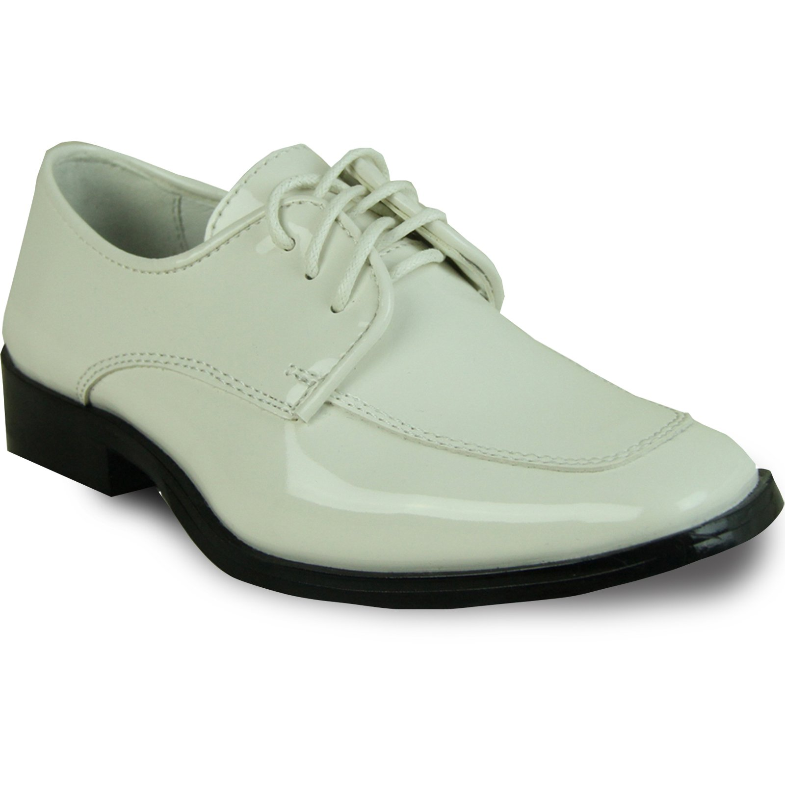 VANGELO Boy Tuxedo Shoe TUX-3K Fashion Square Toe Designed for Wedding and Formal Events with Wrinkle Free Material Ivory Patent 2Y