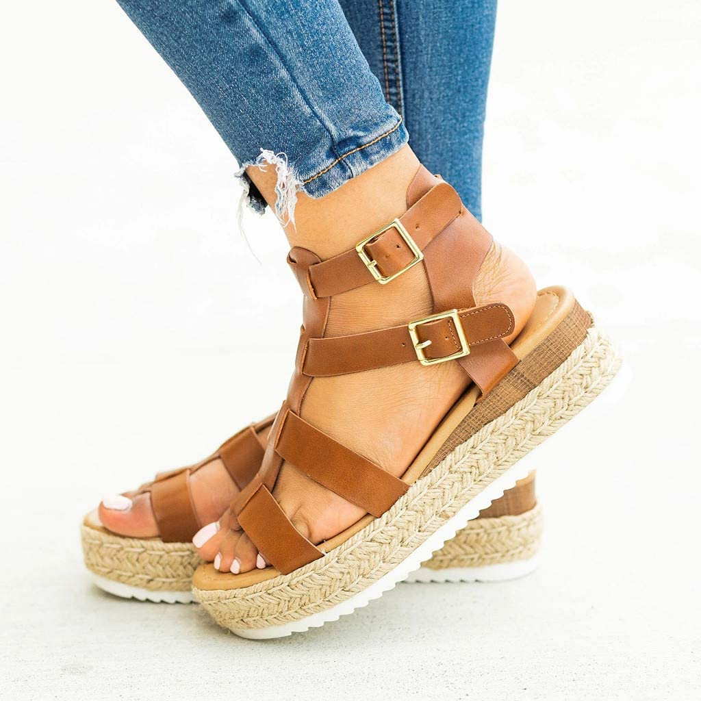 Dainzusyful Womens Platform Sandals Espadrille Casual Shoes Ankle Buckle Strap Open Toe Summer Beach Sandals