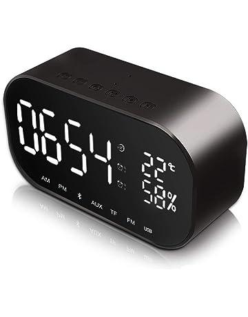Despertador con Altavoz Bluetooth JIMS STORE Reloj de Escritorio con FM Radio y Micrófono Llamada de