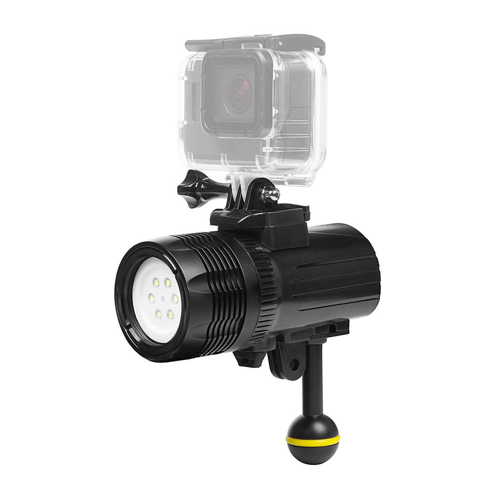 Docooler SHOOT XTGP460 1500 Lumen Underwater Diving Torch Flashlight Waterproof 60m/197ft Rechargeable Dimmable Outdoor LED Video Light for GoPro Hero 6/5/4/3+/3 Action Camera
