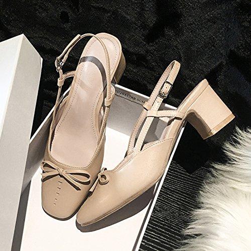 Xue Schmetterling Qiqi Court Schuhe Dick mit buckligen Sandalen Schmetterling Xue Süß mit Einzelnen Schuhen Weiblich 38 Aprikose d65b9e