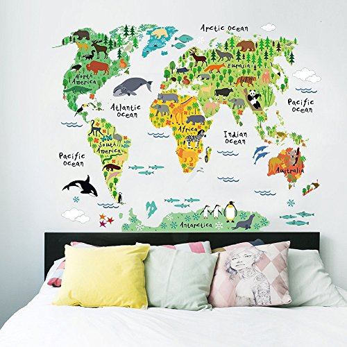 """Ferris Store Large Kids Cute Cartoon Educational Animal/Famous Building World Map Peel & Stick Wall Decals PVC Stickers Home Decor 28.7x37.4"""""""