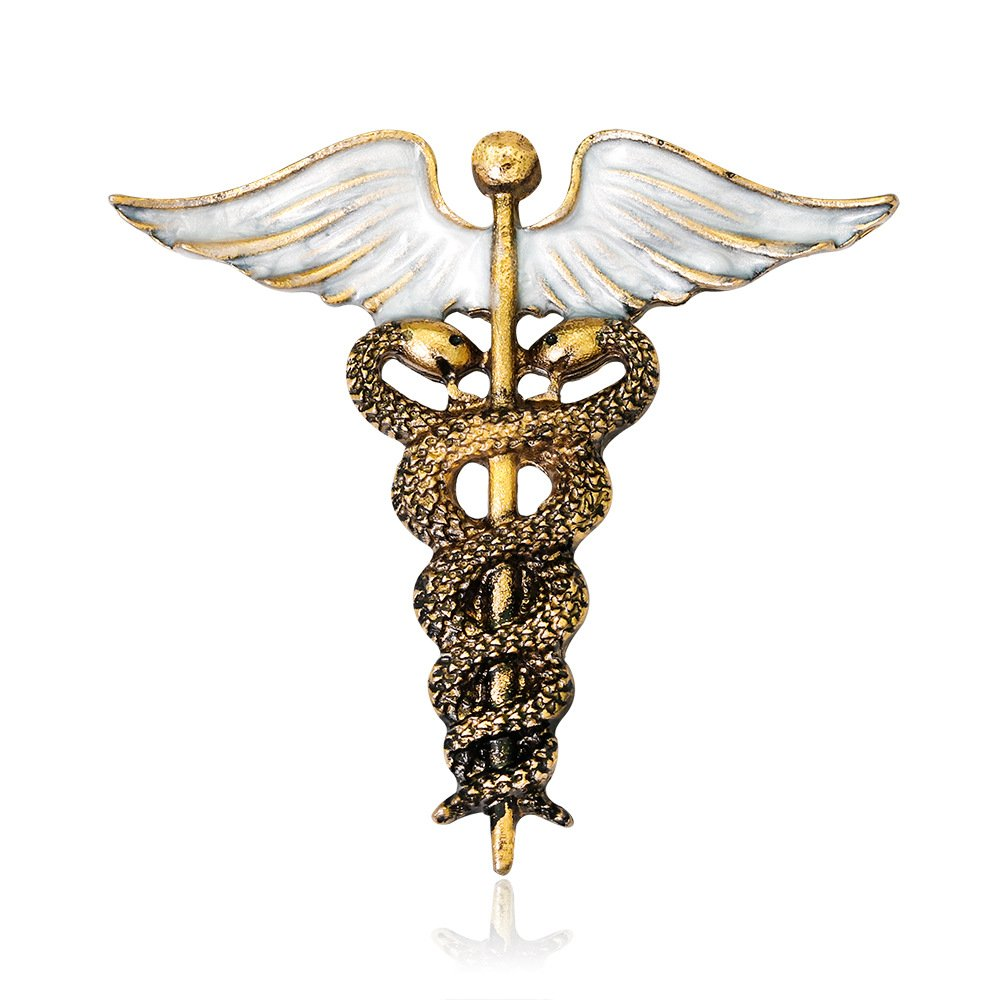 MIXIA Medical Symbol Caduceus RN Nursing Badge Brooches Lapel Pin for Registered Nurse Doctor Rod of Asclepius Emergency Brooch Jewelry