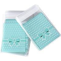 DEOMOR (8*10cm + 3cm) 200pz Sacchetti Plastica Piccoli Sacchettini Trasparenti Confezioni per Regalo Biscotti Caramella