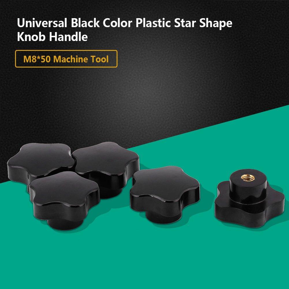 Star Shape Knob,5pcs Universal Black Color Plastic Star Shape Knob Handle M8,Durable and Comfortable Grip Feeling for Machine Tool