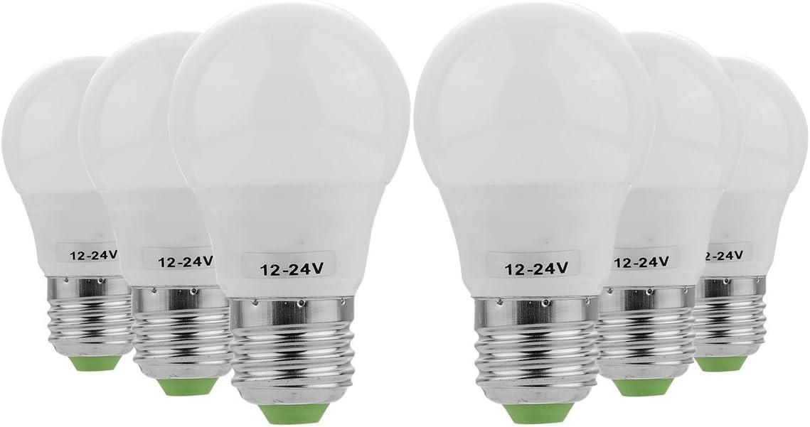 Bombilla LED estándar E26/E27, 3 W, 5730 SMD, ahorro de energía, luz blanca cálida, 6500 K, 3000 K, CA/CC, 12-24 V (paquete de 6), color blanco cálido