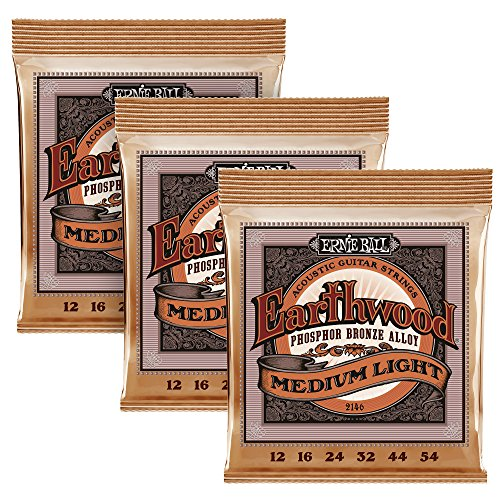 (Ernie Ball Phosphor Bronze Acoustic Guitar Strings, Custom, Medium Light (Pack of 3))