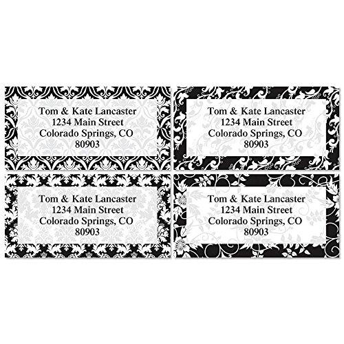 Elegant in Black Self-Adhesive, Flat-Sheet Border Address Labels (4 Designs)