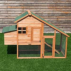 "Apontus 67"" Outdoor Bunny Rabbit Hutch Chicken Coops Cage w/Ladder Tray"