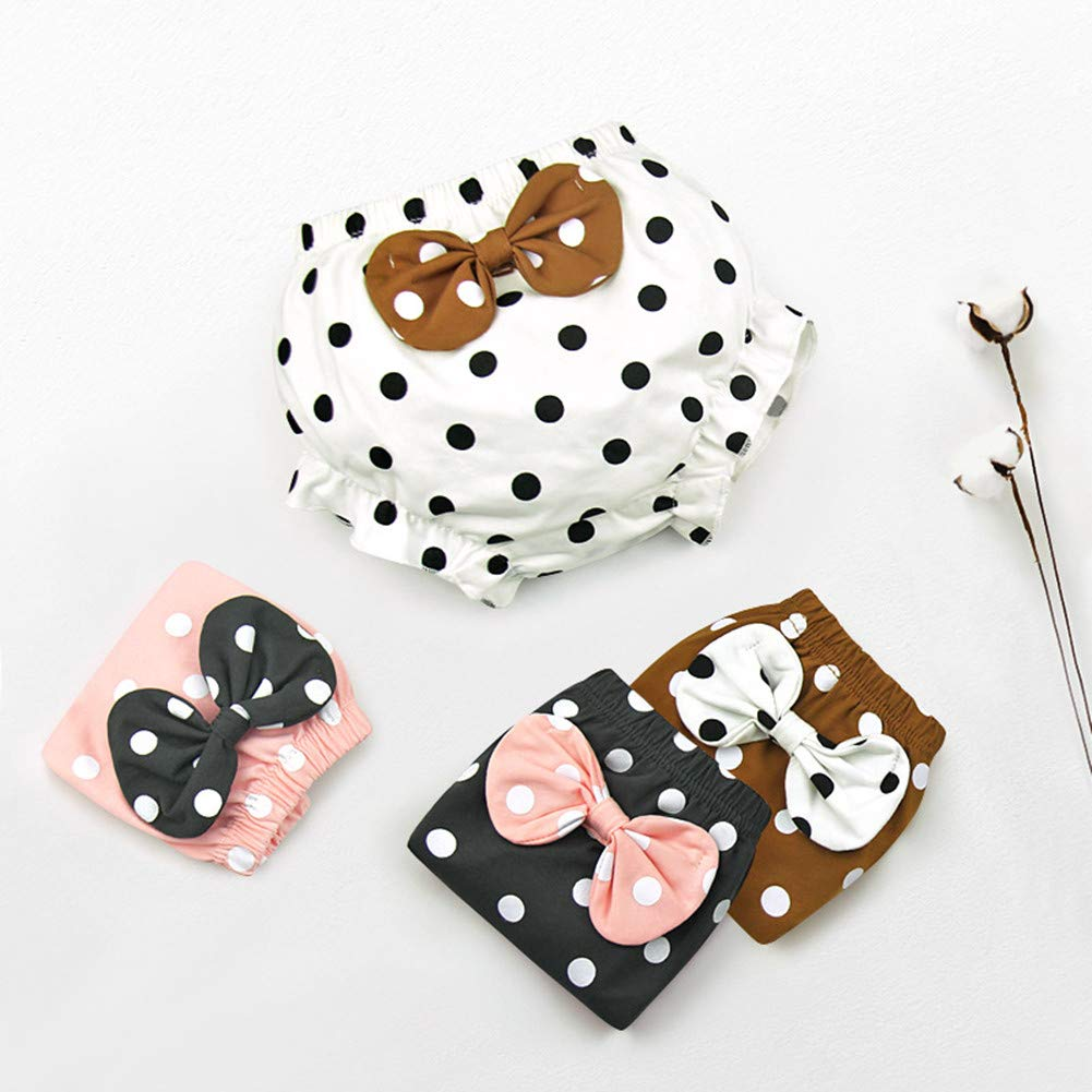Beide Baby Girls Cotton Ruffle Bowknot Shorts 4-Pack