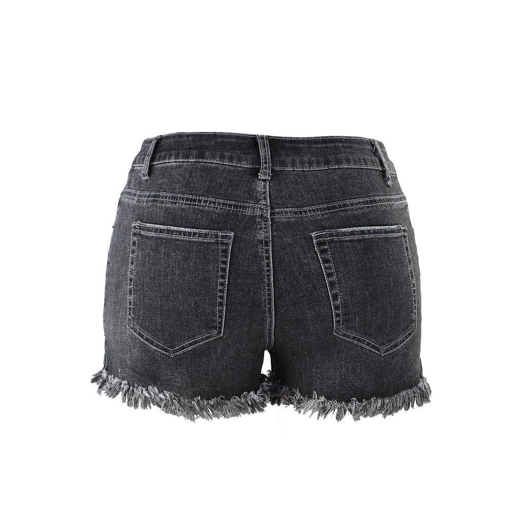 MODOQO Women Mid Rise Shorts Ladies Fringed Frayed Raw Hem Ripped Denim Pants