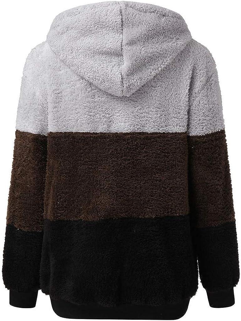 DONTAL Women Tops Warm Fluffy Winter Top Hoodie Sweatshirt Ladies Shirts Zipper Pullover Jumper