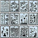 12pcs Drawing Painting Stencils Scale Template Sets, Plastic Shapes Stencils Graphics Stencils for Children Creation,Scrapbooking, DIY Albums Accessories
